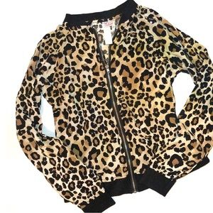 Justice Lightweight Zip Bling Leopard Jacket